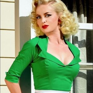 Pinup Couture Doris top green Pinup Girl Clothing